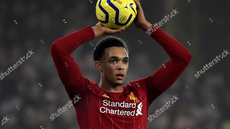 Stock Picture of Liverpool's Trent Alexander-Arnold during the English Premier League soccer match between Wolverhampton Wanderers and Liverpool at the Molineux Stadium in Wolverhampton, England
