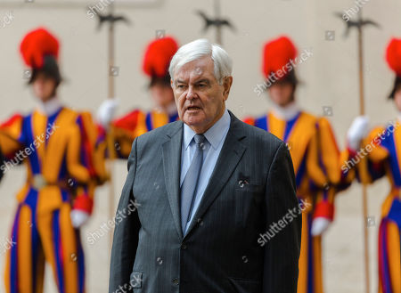 Former U.S. House Speaker Newt Gingrich waits for the arrival of U.S. Vice-President Mike Pence at the Vatican for an audience with Pope Francis