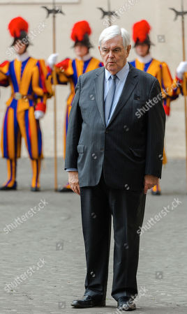 Stock Photo of Former U.S. House Speaker Newt Gingrich waits for the arrival of U.S. Vice-President Mike Pence at the Vatican for an audience with Pope Francis