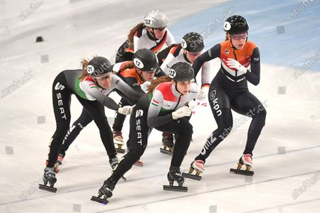 Stock Photo of Rebeka Sziliczei-Nemet (L) and Zsofia Konya (front-L) of Hungary, Rianne de Vries (2ND-L) and Lara van Ruijven (R) of the Netherlands and Lisa Eckstein (back) and Bianca Walter (2ND-R) of Germany compete in women's 3,000m relay quarterfinal of the ISU European Short Track Speed Skating Championships in Debrecen, Hungary, 24 January 2020.