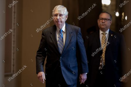 Senate Majority Leader Mitch McConnell walks to the Senate chamber for the Senate impeachment trial in the US Capitol in Washington, DC, USA, 24 January 2020. The House impeachment managers will continue to make their case for removing President Trump during their last full day of opening arguments in the impeachment trial of US President Donald J. Trump.
