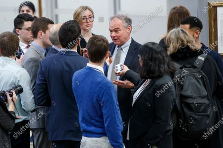 Democratic Senator from Virginia Tim Kaine responds to a question from the news media in the subway prior to the impeachment trial in the US Capitol in Washington, DC, USA, 24 January 2020. The House impeachment managers will conclude their case for removing President Trump during the third day of opening arguments in the impeachment trial of US President Donald J. Trump.