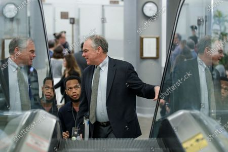 Democratic Senator from Virginia Tim Kaine in the subway prior to the impeachment trial in the US Capitol in Washington, DC, USA, 24 January 2020. The House impeachment managers will conclude their case for removing President Trump during the third day of opening arguments in the impeachment trial of US President Donald J. Trump.