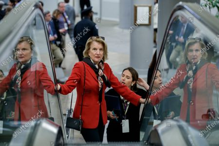 Republican Senator from West Virginia Shelley Moore Capito in the subway prior to the impeachment trial in the US Capitol in Washington, DC, 24 January 2020. The House impeachment managers will conclude their case for removing President Trump during the third day of opening arguments in the impeachment trial of US President Donald J. Trump.