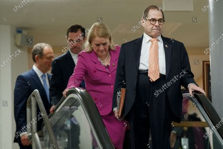 House impeachment managers Jerry Nadler (R), Sylvia Garcia (2-R), Jason Crow (2-L) and Adam Schiff (L), arrive for a press conference prior to the impeachment trial in the US Capitol in Washington, DC, USA, 24 January 2020. The House impeachment managers will conclude their case for removing President Trump during the third day of opening arguments in the impeachment trial of US President Donald J. Trump.