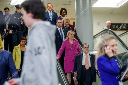 House impeachment managers Jerry Nadler (R), Sylvia Garcia (2-R), Jason Crow, Zoe Lofgren, Val Demings and Adam Schiff arrive for a press conference prior to the impeachment trial in the US Capitol in Washington, DC, USA, 24 January 2020. The House impeachment managers will conclude their case for removing President Trump during the third day of opening arguments in the impeachment trial of US President Donald J. Trump.
