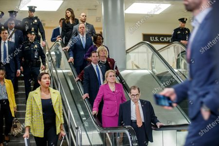 House impeachment managers Jerry Nadler (R), Sylvia Garcia (2-R), Jason Crow, Zoe Lofgren, Val Demings, Adam Schiff and Hakeem Jeffries arrive for a press conference prior to the impeachment trial in the US Capitol in Washington, DC, USA, 24 January 2020. The House impeachment managers will conclude their case for removing President Trump during the third day of opening arguments in the impeachment trial of US President Donald J. Trump.