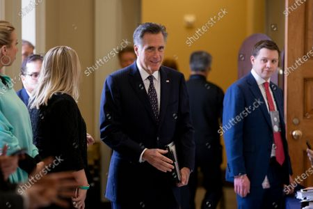 Republican Senator from Utah Mitt Romney (C) walks near the Senate chamber before the Senate impeachment trial in the US Capitol in Washington, DC, USA, 24 January 2020. The House impeachment managers will continue to make their case for removing President Trump during their last full day of opening arguments in the impeachment trial of US President Donald J. Trump.