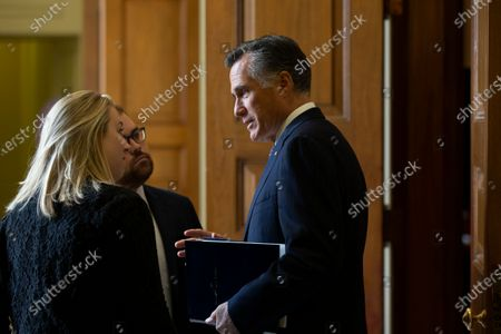 Republican Senator from Utah Mitt Romney (R) speaks with staffers before the Senate impeachment trial in the US Capitol in Washington, DC, USA, 24 January 2020. The House impeachment managers will continue to make their case for removing President Trump during their last full day of opening arguments in the impeachment trial of US President Donald J. Trump.