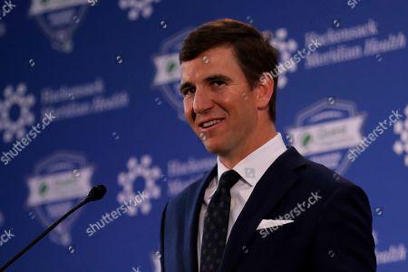 New York Giants NFL football quarterback Eli Manning announces his retirement, in East Rutherford, N.J