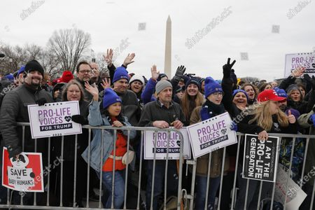 Thousands participants react to remarks by US President Donald J. Trump at the 47th annual March for Life on the National Mall in Washington, DC, USA, on 24 January 2020.