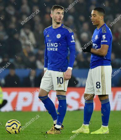 Leicester's James Maddison, left, and Leicester's Youri Tielemans during the English Premier League soccer match between Leicester City and West Ham at the King Power Stadium in Leicester, England