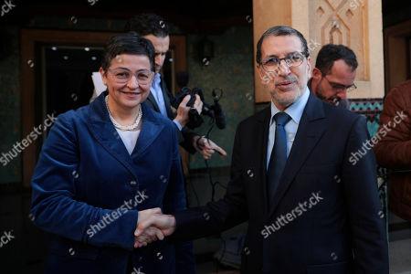 Arancha Gonzalez, Saad Eddine el-Othmani. Spanish Foreign Minister Arancha Gonzalez, left, shakes hands with Morocco Prime Minister Saad Eddine el-Othmani during her first official visit to Rabat, Morocco