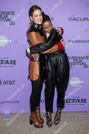 "Riley Keough, Taylour Paige. Riley Keough, left, and Taylour Paige attend the premiere of ""Zola"" at the Eccles Theater during the 2020 Sundance Film Festival, in Park City, Utah"