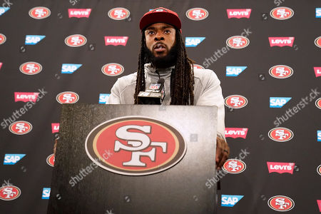 San Francisco 49ers cornerback Richard Sherman speaks to reporters after a practice at the team's NFL football training facility in Santa Clara, Calif.,. The 49ers will face the Kansas City Chiefs in Super Bowl 54