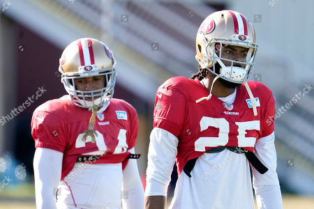 San Francisco 49ers cornerback Richard Sherman (25) and defensive back K'Waun Williams (24) practice at the team's NFL football training facility in Santa Clara, Calif.,. The 49ers will face the Kansas City Chiefs in Super Bowl 54