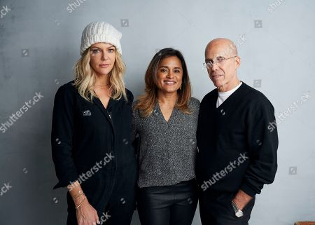 """Kaitlin Olson, Veena Sud, Jeffrey Katzenberg. Kaitlin Olsonfrom left, Veena Sud and Jeffrey Katzenberg pose for a portrait to promote the film """"Quibi"""" at the Music Lodge during the Sundance Film Festival, in Park City, Utah"""