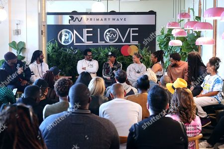 Stock Picture of Julian Marley, Rohan Marley, Joshua Omaru Marley, Mystic Marley, Zuri Marley, Nico Marley, Skip Marley, Shacia Marley. Julian Marley, second from left, Rohan Marley, Joshua Omaru Marley, Mystic Marley, Zuri Marley, Nico Marley, Skip Marley and Shacia Marley participate in the Q&A panel at the Marley Brunch with Marley Family Members at the 1 Hotel West Hollywood, in West Hollywood, Calif