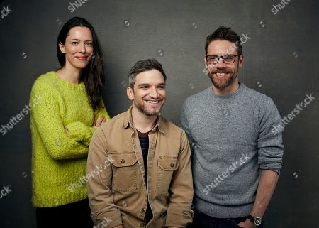 """Stock Image of Rebecca Hall, Evan Jonigkeit, David Bruckner. Rebecca Hall, from left, Evan Jonigkeit and director David Bruckner pose for a portrait to promote the film """"The Night House"""" at the Music Lodge during the Sundance Film Festival, in Park City, Utah"""