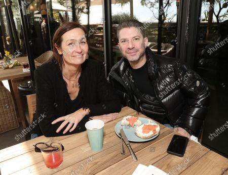 Kate Sweetsur and Andrew Gould attend the Downtown Grammy Brunch