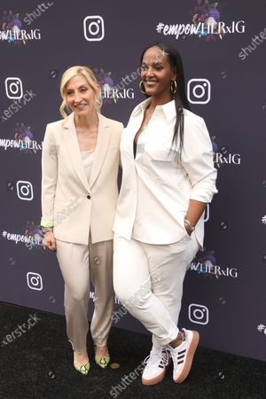 US business executive Jacqueline Saturn (L) and US music industry executive Ethiopia Habtemariam pose on the red carpet at the Instagram's Grammy Luncheon at Ysabel in Los Angeles, California, USA, 24 January 2020.