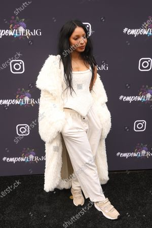 US musical artist Diana Gordon poses on the red carpet at the Instagram's Grammy Luncheon at Ysabel in Los Angeles, California, USA, 24 January 2020.