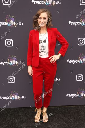 US musical artist Sara Gazarek poses on the red carpet at the Instagram's Grammy Luncheon at Ysabel in Los Angeles, California, USA, 24 January 2020.