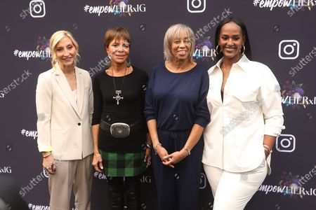 Music executives Jacqueline Saturn, Sylvia Rhone, Gail Mitchell and Ethiopia Hbtemariam pose on the red carpet at the Instagram's Grammy Luncheon at Ysabel in Los Angeles, California, USA, 24 January 2020.