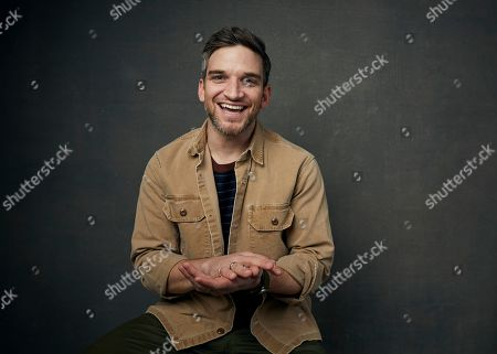 """Stock Photo of Evan Jonigkeit poses for a portrait to promote the film """"The Night House"""" at the Music Lodge during the Sundance Film Festival, in Park City, Utah"""