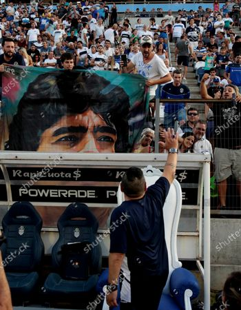 Technical director of Gimnasia y Esgrima, Diego Maradona, during a match between Gimnasia y Esgrima and Vélez Sarfield for the Argentine Football Super League, at the Juan Carmelo Zerillo Stadium in La Plata, Buenos Aires, Argentina, 24 January 2020.