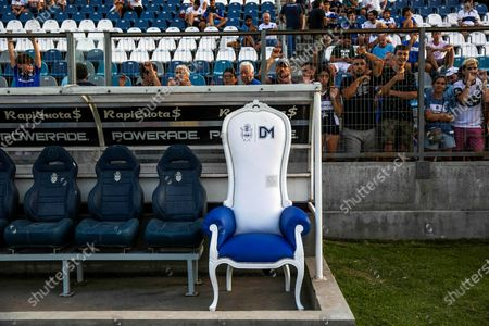 General view of the armchair that the Gimnasia y Esgrima team gave to Diego Maradona in La Plata, Buenos Aires, 24 January 2020. The armchair will be signed by Maradona and then auctioned off this Friday before the Gimnasia y Esgrima match against Velez Sarfield in the Argentinean Superliga at the Juan Carmelo Zerillo stadium in La Plata.