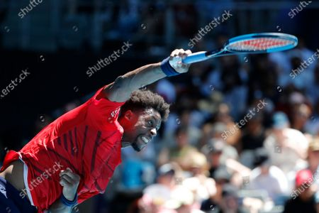 Gael Monfils of France in action during his men's singles third round match against Ernests Gulbis of Latvia at the Australian Open Grand Slam tennis tournament in Melbourne, Australia, 25 January 2020.
