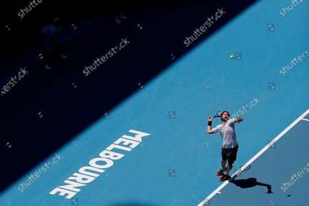 Ernests Gulbis of Latvia in action during his men's singles third round match against Gael Monfils of France at the Australian Open Grand Slam tennis tournament in Melbourne, Australia, 25 January 2020.