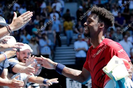 Gael Monfils of France greets fans after winning his men's singles third round match against Ernests Gulbis of Latvia at the Australian Open Grand Slam tennis tournament in Melbourne, Australia, 25 January 2020.