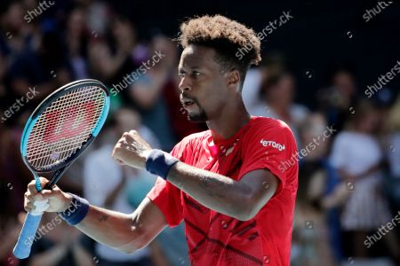 Gael Monfils of France reacts after winning his men's singles third round match against Ernests Gulbis of Latvia at the Australian Open Grand Slam tennis tournament in Melbourne, Australia, 25 January 2020.