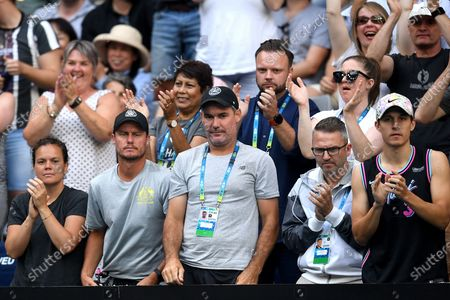 Former Australian tennis player Lleyton Hewitt (2-L) watches on during the thrid round match between Nick Kyrgios of Australia and  Karen Kachanov of Russia on day six of the Australian Open tennis tournament at Melbourne Arena in Melbourne, Australia, 25 January 2020.