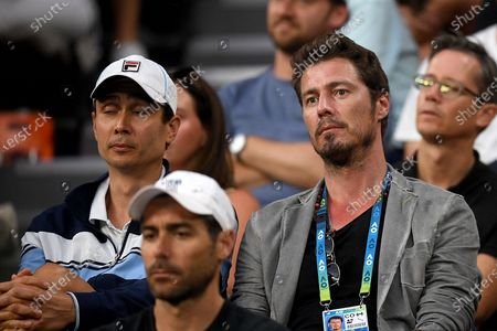 Marat Safin (right) coach of Karen Kachanov of Russia is seen during his third round match against Nick Kyrgios of Australia at the Australian Open Grand Slam tennis tournament in Melbourne, Australia, 25 January 2020.