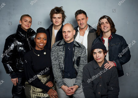 "Stock Image of Lala Kent, Sasheer Zamata, Joe Keery, Eugene Kotlyarenko, David Arquette, Joshua Ovalle, John DeLuca. Lala Kent, from left, Sasheer Zamata, Joe Keery, writer/director Eugene Kotlyarenko, David Arquette, Joshua Ovalle, and John DeLuca pose for a portrait to promote the film ""Spree"" at the Music Lodge during the Sundance Film Festival, in Park City, Utah"