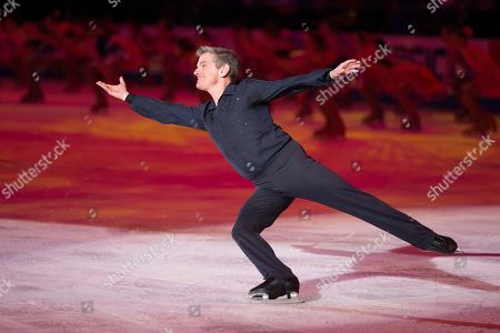 Stock Image of Paul Wylie, 1992 Olympic silver medalist and honorary local organizing committee chair, skates in the opening ceremony at the U.S. Figure Skating Championships, in Greensboro, N.C