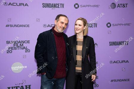 "Stock Picture of Merab Ninidze, Rachel Brosnahan. Actors Merab Ninidze, left, and Rachel Brosnahan attend the premiere of ""Ironbark"" at the Eccles Theatre during the 2020 Sundance Film Festival, in Park City, Utah"