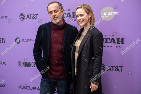 "Merab Ninidze, Rachel Brosnahan. Actors Merab Ninidze, left, and Rachel Brosnahan attend the premiere of ""Ironbark"" at the Eccles Theatre during the 2020 Sundance Film Festival, in Park City, Utah"