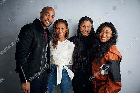 """Kendrick Sampson, Nicole Beharie, Channing Godfrey Peoples, Alexis Chikaeze. Kendrick Sampson, from left, Nicole Beharie, writer/director Channing Godfrey Peoples, and Alexis Chikaeze pose for a portrait to promote the film """"Miss Juneteenth"""" at the Music Lodge during the Sundance Film Festival, in Park City, Utah"""