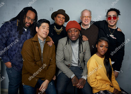 """Stock Photo of Jacob Ming-Trent, Radha Blank, Reed Birney, Antonio Ortiz, Peter Kim, Oswin Benjamin, Imani Lewis. Jacob Ming-Trent, from top left, writer/director Radha Blank, Reed Birney, Antonio Ortiz, Peter Kim, from bottom left, Oswin Benjamin and Imani Lewis pose for a portrait to promote the film """"The 40-Year-Old Version"""" at the Music Lodge during the Sundance Film Festival, in Park City, Utah"""