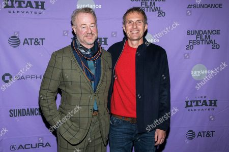 """Stock Image of Owen Teale, Euros Lyn. Owen Teale, left, and Euros Lyn attend the premiere of """"Dream Horse"""" at the Rose Wagner Center during the 2020 Sundance Film Festival, in Salt Lake City, Utah"""