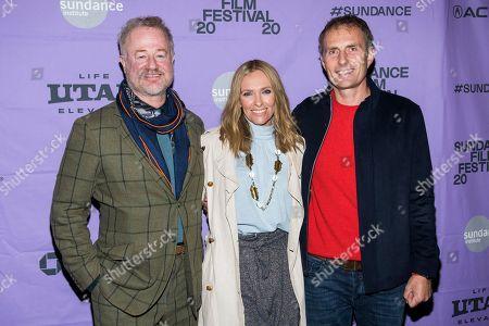 "Owen Teale, Toni Collette, Euros Lyn. Owen Teale, left, Toni Collette and Euros Lyn attend the premiere of ""Dream Horse"" at the Rose Wagner Center during the 2020 Sundance Film Festival, in Salt Lake City, Utah"