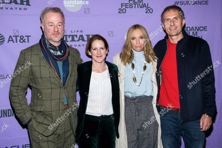"Owen Teale, Toni Collette, Euros Lyn, Tracy O'Riordan. Owen Teale, left, Tracy O'Riordan, Toni Collette and Euros Lyn attend the premiere of ""Dream Horse"" at the Rose Wagner Center during the 2020 Sundance Film Festival, in Salt Lake City, Utah"