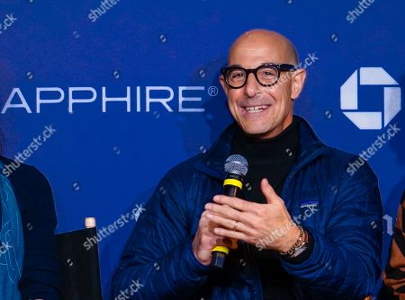 """Stanley Tucci talks during a panel for """"Worth"""" at Los Angeles Times Live during the Sundance Film Festival presented by Chase Sapphire, in Park City, Utah"""