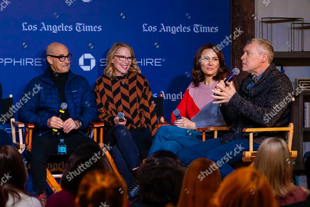 "Stanley Tucci, Amy Ryan, Laura Benanti, Tate Donovan. Stanley Tucci, Amy Ryan, Laura Benanti listen as Tate Donovan talks during a panel for ""Worth"" at Los Angeles Times Live during the Sundance Film Festival presented by Chase Sapphire, in Park City, Utah"
