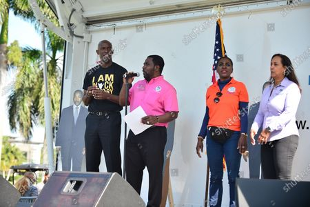 City of Miramar Mayor Wayne Messam, City of Miramar Commissioner Maxwell B. Chambers, City of Miramar Vice Mayor Alexandra P. Davis, City of Miramar Commissioner Yvette Colbourne attend the annual Reverend Dr. Martin Luther King, Jr. Day celebration between Sherman Circle at Lakeshore Park