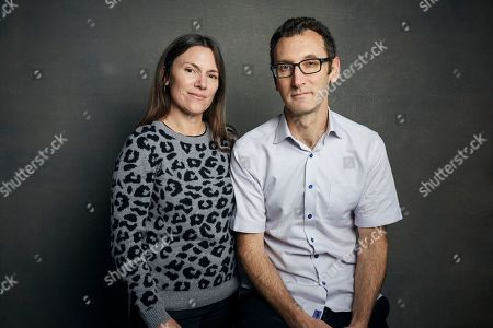 """Amanda McBaine, Jesse Moss. Directors Amanda McBaine, left, and Jesse Moss pose for a portrait to promote the film """"Boys State"""" at the Music Lodge during the Sundance Film Festival, in Park City, Utah"""